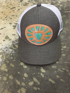 Grey and Turquoise leather Cap