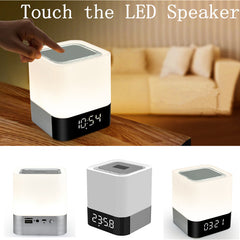 [Bestseller] LED Speaker Touch Wireless Bluetooth Speaker TF Alarm Clock Time Setting Subwoofer Mini Speakers For Iphone Android