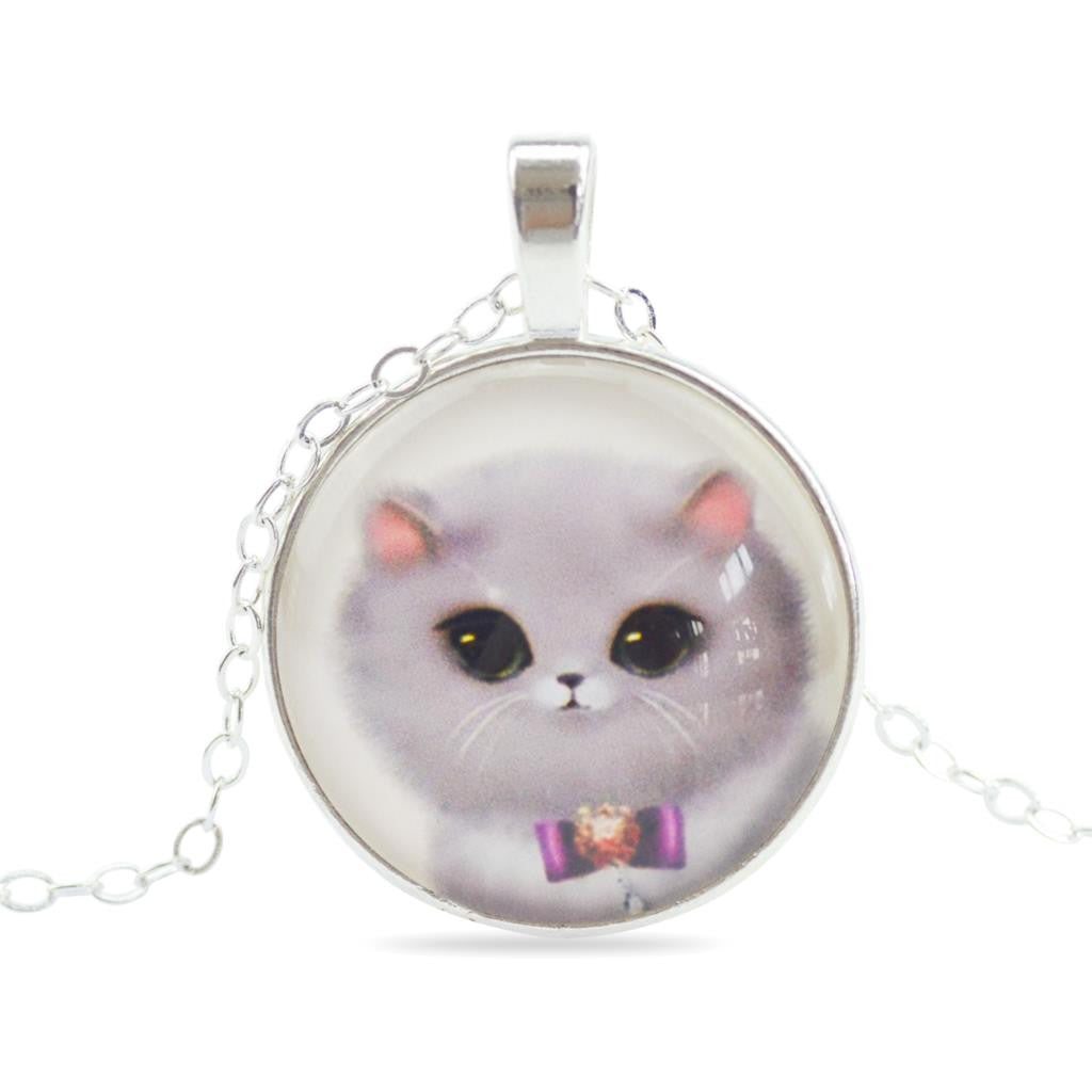 Cat Glass Cabochon Pendants Necklaces Handmade Silver Plated Chains Choker Necklaces