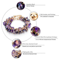 Amethyst Charm Bracelets & Bangles With Crystal Stones Friendship Bracelets For Women - YouareUnique - 3