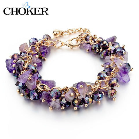 Amethyst Charm Bracelets & Bangles With Crystal Stones Friendship Bracelets For Women - YouareUnique - 1