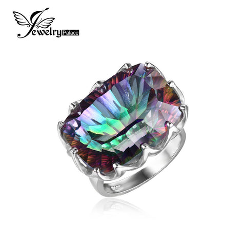 Natural Rainbow Fire Mystic Topaz Ring 925 Sterling Silver