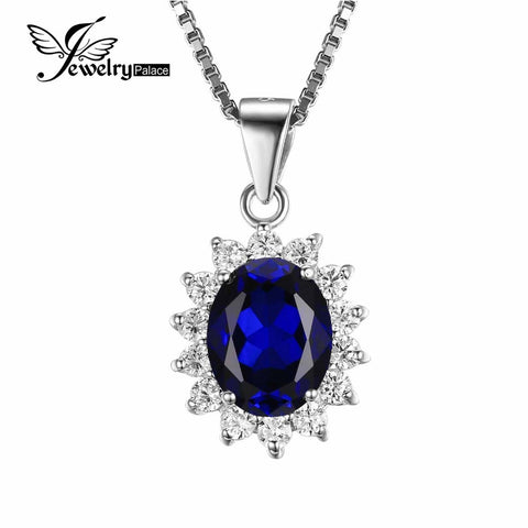 Kate Princess Diana William 2.5ct Blue Sapphire Pendant 925 Sterling Silver Wedding Pendant Jewelry For Women Gift