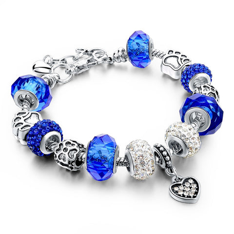 European Style Authentic Tibetan Silver Blue Crystal Charm Bracelet For Women