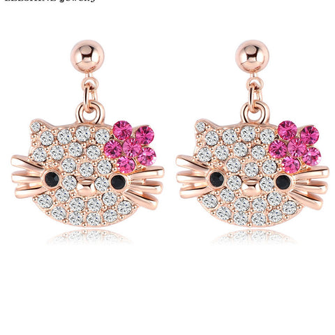Lovely Cat Flower Stud Earring For Girls Rose Gold Plated Austrian Crystal Kitten Earrings