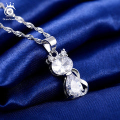 Cute Cat Pendants Necklace With 1.8 Carat Austrian Zircon Crystal Necklace