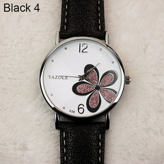 Leather Strap Flower Watch