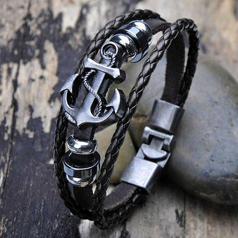 Leather Steel Studded Cuff Bracelet for men