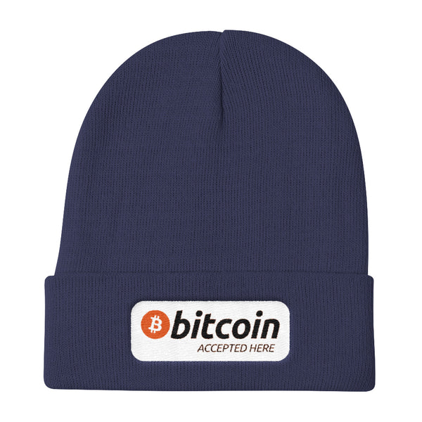 Bitcoin Accepted Here Knit Beanie - Hat - The Resistance