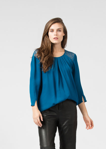 Pleated Soft Lace Blouse
