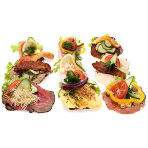 Open Sandwich, Mixed (Uspecificeret Smørrebrød) 10 pcs half size NOTE! DELIVERY ONLY SATURDAYS