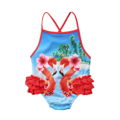 f9d9e61bb2feb Girl s Flamingo Side Ruffle One Piece Swimsuit