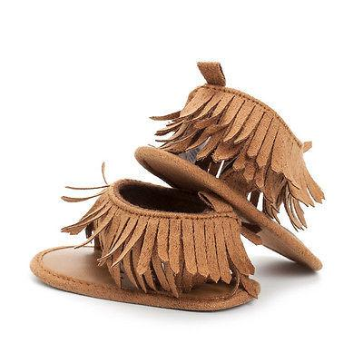 4cf7ffcba0dd ... Baby Girl s Fringe Tassel Moccasin Sandals (Brown or Silver)-shoes-Fad  Frenzy ...
