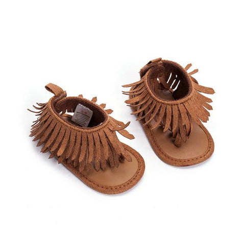 82465eb60789 Baby Girl s Fringe Tassel Moccasin Sandals (Brown or Silver)-shoes-Brown-