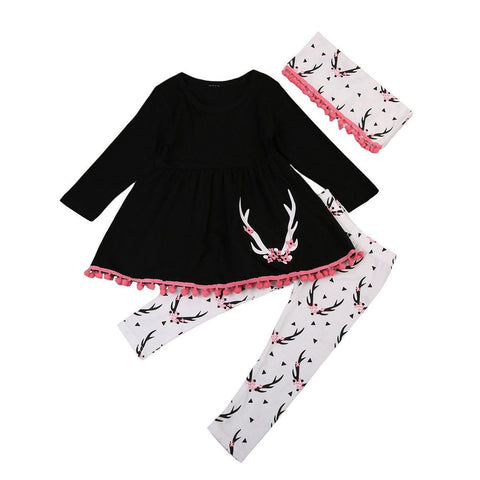 acb678584e461 Girl s Long Sleeve Pink Flower Antler 3 Piece Outfit