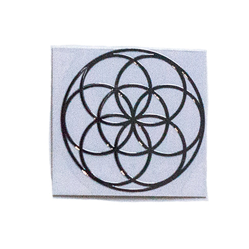 Radiation shield decal | flower of life silver