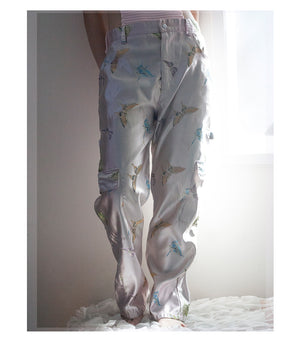 FL3X || pink butterfly brocade slacks