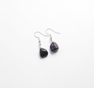 Raw Shungite + Silver Earrings