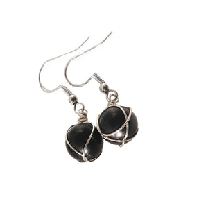 Shungite + Silver Earrings