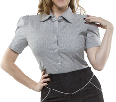 The SHAKE SHACK Vintage Striped Womens Button Up - BLACK/WHITE