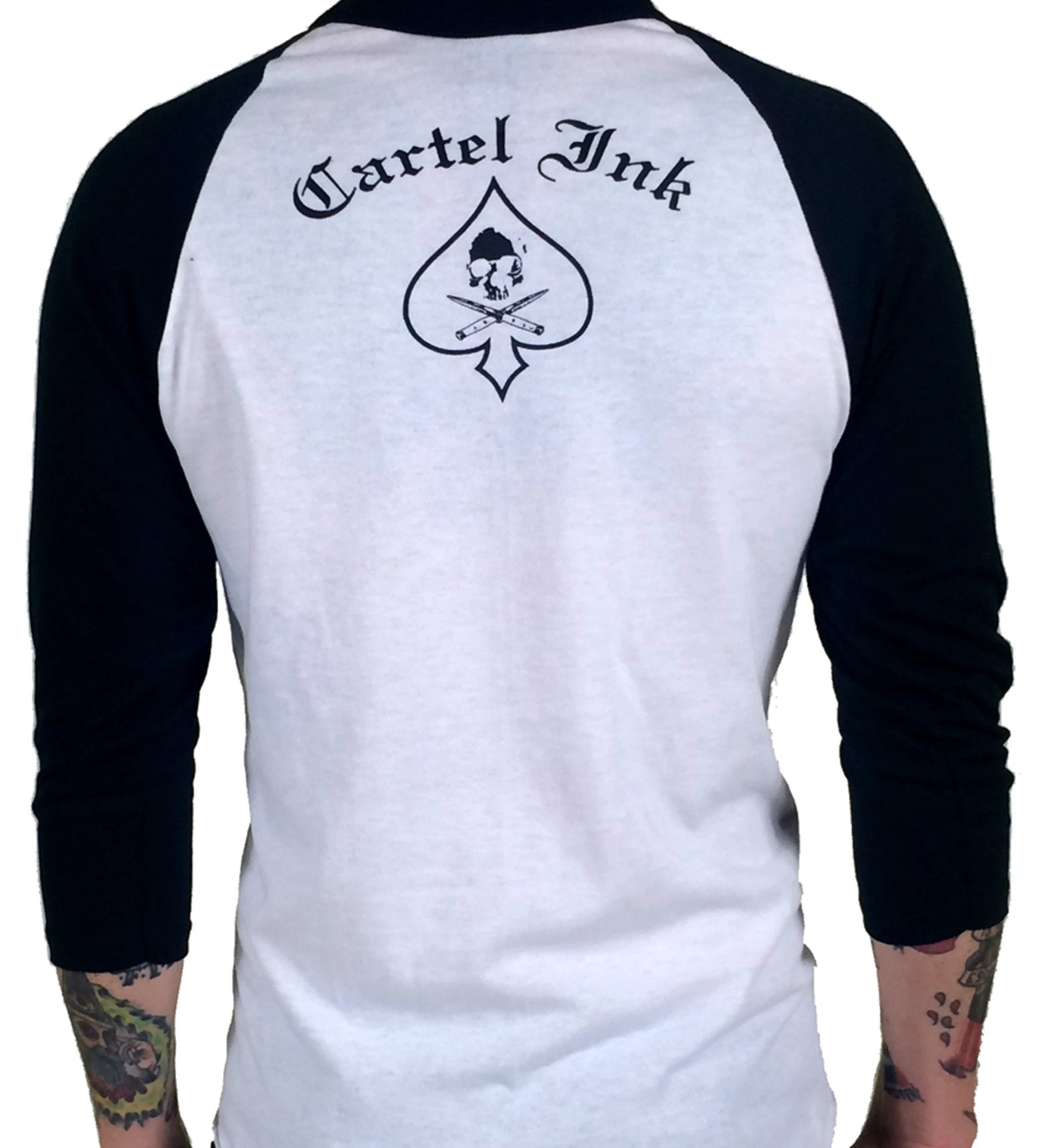 The BORN TO RUMBLE Raglan Tee - WHITE/BLACK
