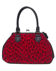 The Black Dahlia Kiss Lock Purse -RED LEOPARD