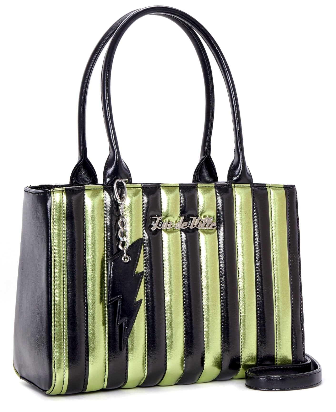 The BAD REPUTATION Tote - GREEN & BLACK METALLIC