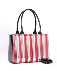 The BAD REPUTATION Tote -SILVER & RED METALLIC
