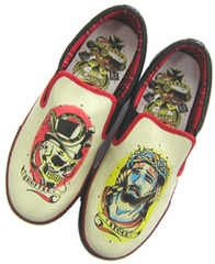 The BLESS THE KUSTOMS Unisex Slip On - BLACK/BONE