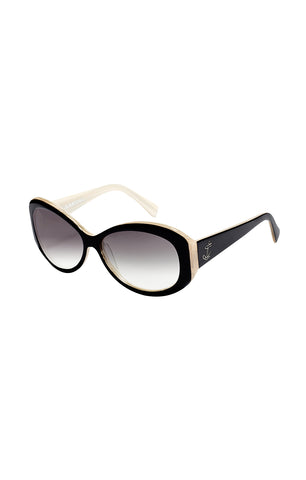 The BOMBSHELL Sunglasses - Black and White Horn w/ Smoked Gradient CR-39 Lenses