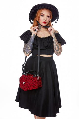 The Elvira Lux Coffin Mini Tote - RED LEOPARD