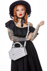 The Elvira Lux Coffin Mini Tote - SILVER THUNDER SPARKLE