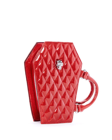 The Elvira Lux Coffin Mini Tote - VENOM RED SPARKLE
