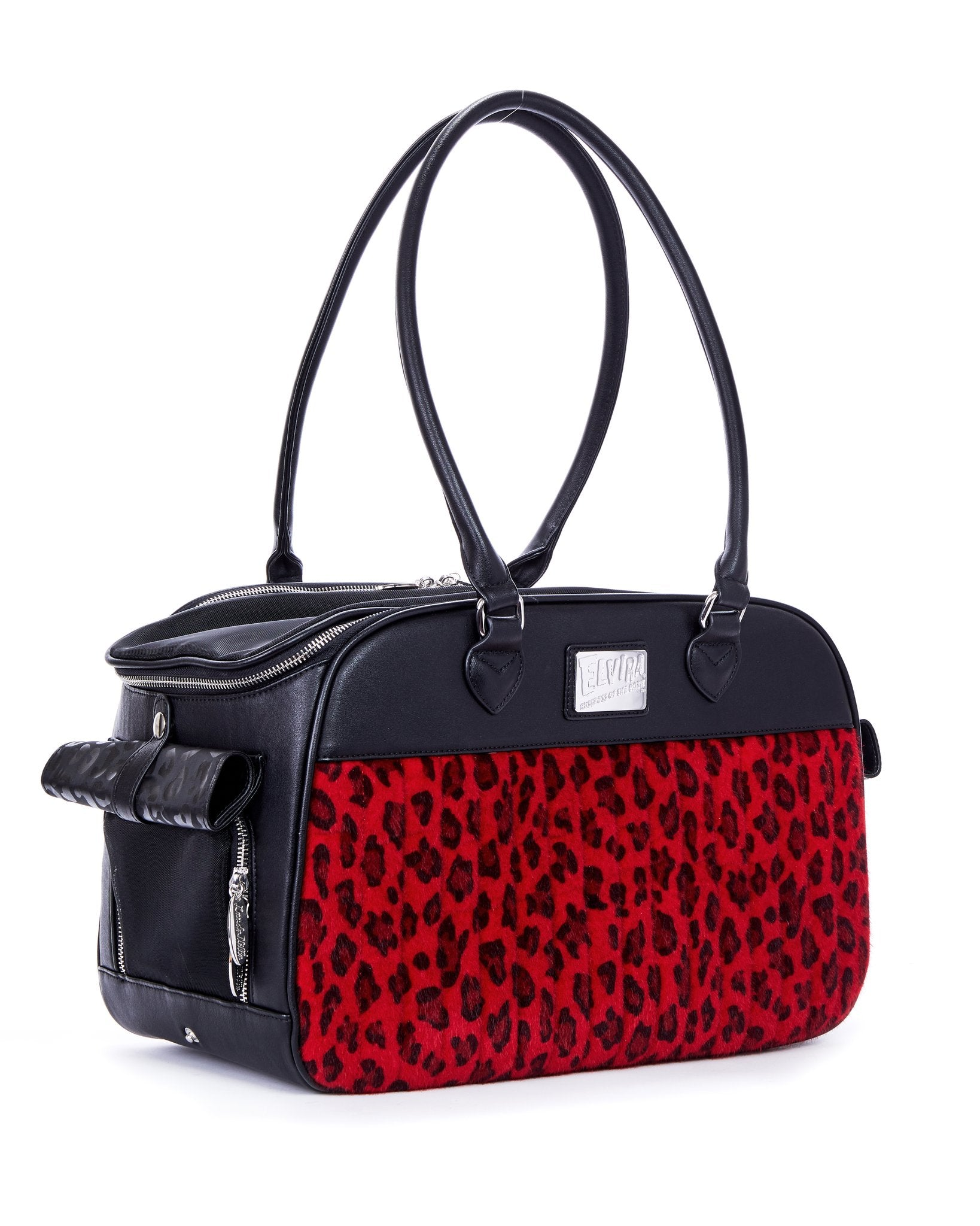 The Elvira Lux Pet Carrier - BLACK MATTE/RED LEOPARD