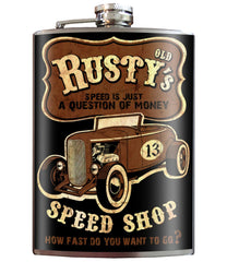 RUSTY'S SPEED SHOP Stainless Steel Flask