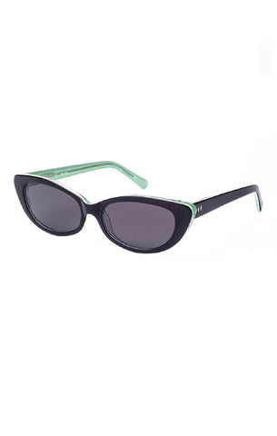 The JANE Sunglasses - Black and Bottle Green Frames w/ Smoke CR-39 Lenses - ON SALE!