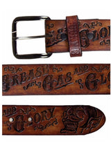 The GREASE GAS & GLORY Belt - ANTIQUED BROWN