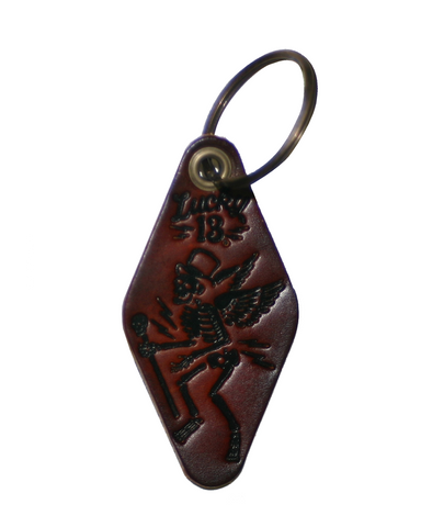 The SKULLY MOTEL Leather Key Chain - ANTIQUED BROWN