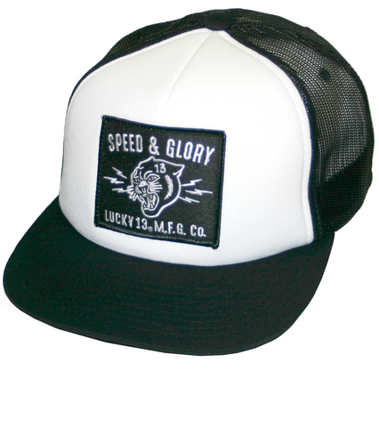 199c69429be The PANTHER HEAD foam mesh trucker cap Blk  Wht – Grease