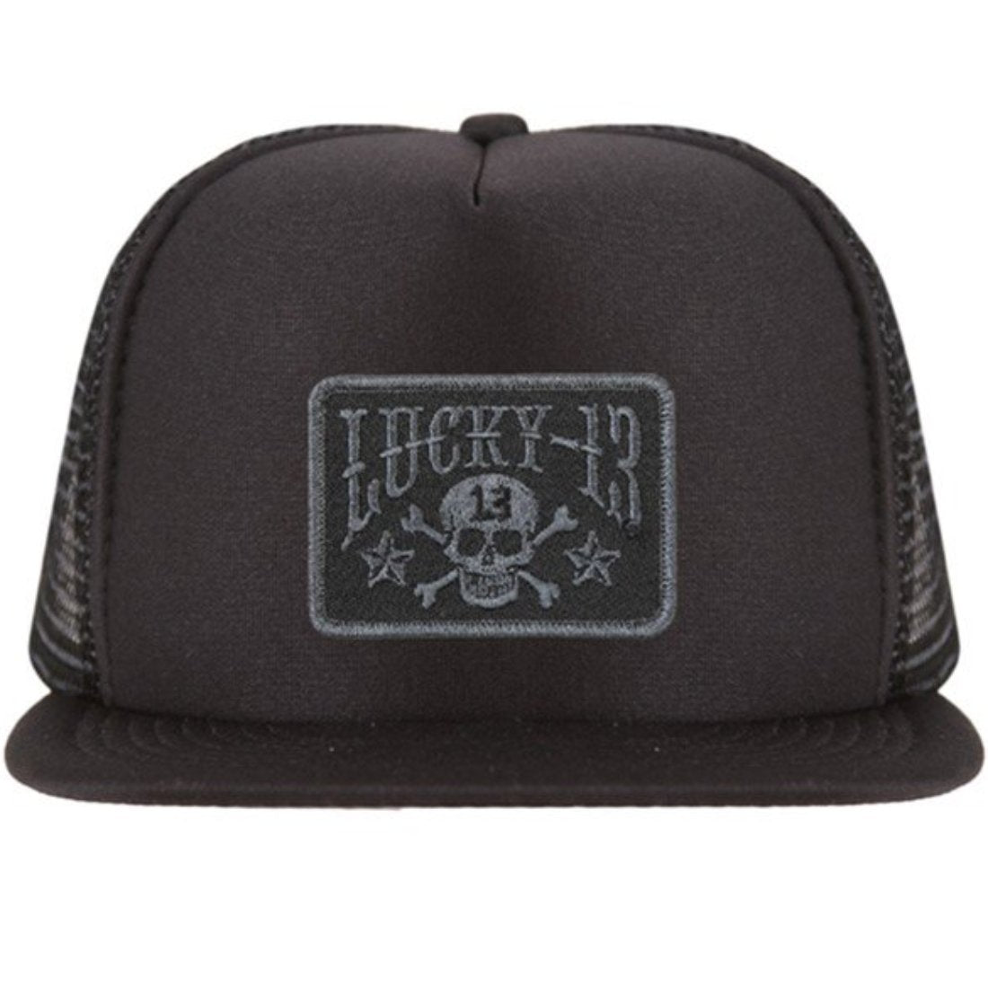 The SKULL STARS Flat Bill Trucker Hat - BLACK/BLACK
