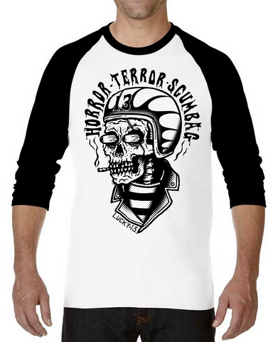 The SCUMBAG 3/4 Sleeve Raglan Tee - WHITE/BLACK