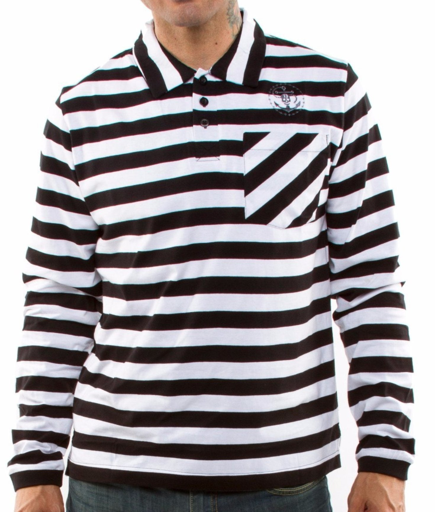 The PRISON BOUND Long Sleeve Striped Polo - BLACK & WHITE
