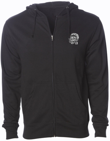 The SCUMBAG Full Zip Midweight Hoodie - BLACK - LAST ONE IS A SMALL!