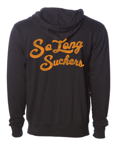 The SO LONG SUCKERS Full Zip Hooded Sweatshirt - BLACK/GOLD