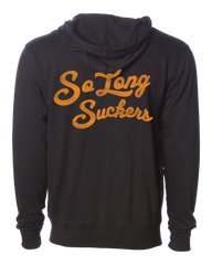 The SO LONG SUCKERS Hooded Full Zip Sweatshirt - BLACK/GOLD