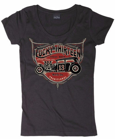 The LADY HOT RODDER Scoop Neck Tee