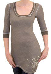 The WILD HORSES Deconstructed 3/4 Sleeve Asymmetrical Thermal Top - TAUPE