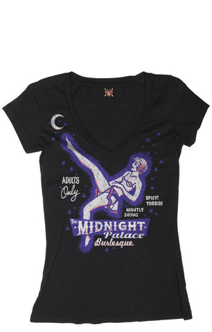 The MIDNIGHT PALACE Deep V-Neck Tee - ONLY SIZES MD, XL & 2XL LEFT!