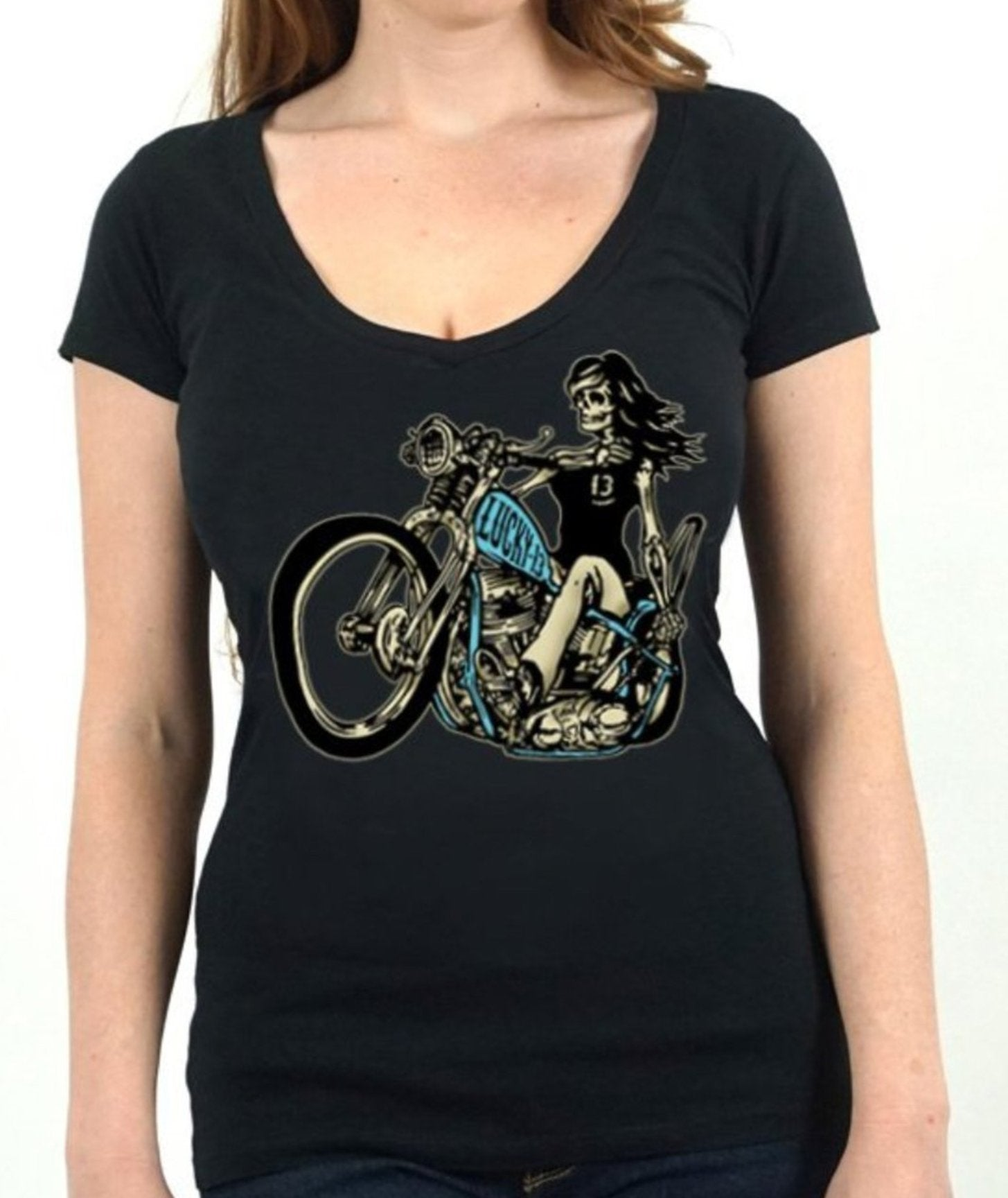 The SLEAZY RIDER Deep V-Neck Tee