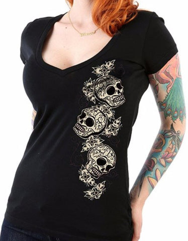The TRES SKULLS Deep V-Neck Tee